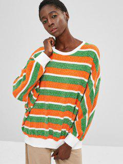 ZAFUL Contrast Striped Sparkly Christmas Sweater - Multi L