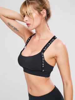 Letter Y Line Workout Bra - Black M