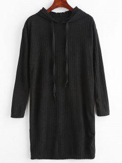 Solid Color Hooded Knit Dress - Black L