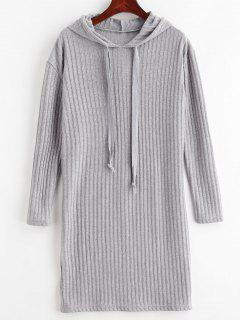 Solid Color Hooded Knit Dress - Gray S