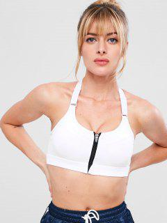 Zip Front Cutout Workout Bra - White M
