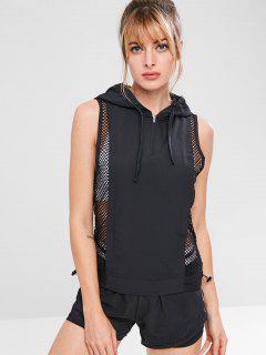 Fishnet Panel Sleeveless Hoodie - Black L
