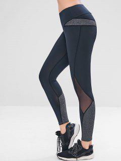 Heather Mesh Insert Yoga Leggings - Black L