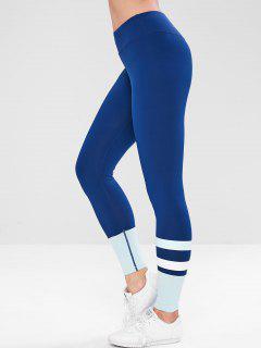 Hidden Pocket Color Block Skinny Leggings - Cadetblue M