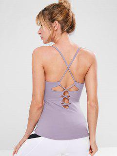 Cross Lace-up Gym Cami Top - Lilac M