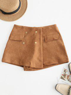 Pantalones Cortos De Falda De Ante De Cintura Alta - Marrón Xl