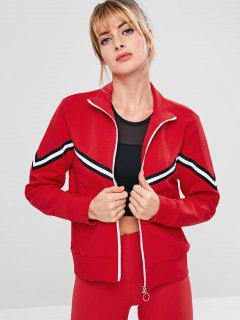 ZAFUL Striped Zipper Pocket Jacket - Red M