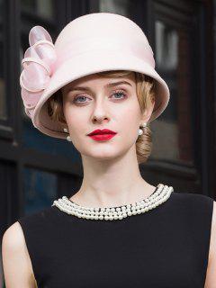 Elegant Bowknot Wool Cloche Hat - Pink