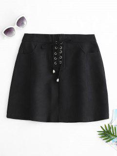 Lace Up Side Pockets Mini Skirt - Black S