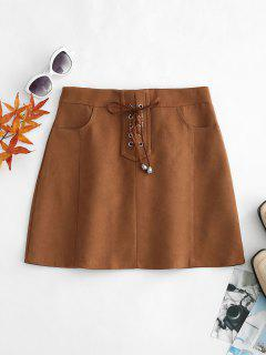 Lace Up Side Pockets Mini Skirt - Brown S
