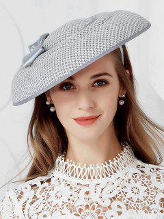 Elegant Houndstooth Bowknot Banquet Hat - Light Gray