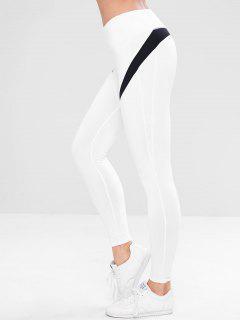 Farbblock Versteckte Pocket Gym Leggings - Weiß M