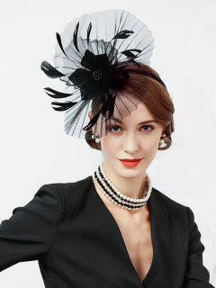 Floral Solid Color Cocktail Hat - Black