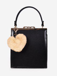 Toe Handle Heart Pendant Crossbody Bag - Black