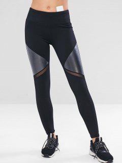 Mesh Faux Leather Insert Gym Leggings - Black S