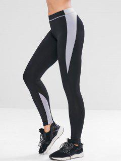 Letter Color Block Skinny Leggings - Black L