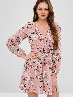 Belted Floral Long Sleeve Dress - Khaki Rose L