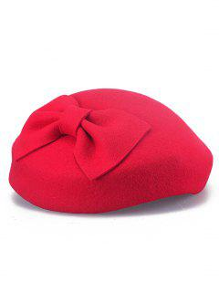 Elegant Solid Color Bowknot Pillbox Hat - Red