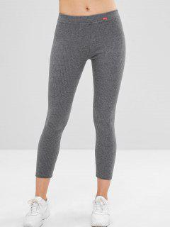 Mid Waist Patchwork Skinny Pants - Dark Gray