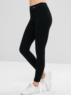 Mid Waist Patchwork Skinny Pants - Black