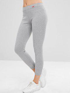 Mid Waist Patchwork Skinny Pants - Light Gray
