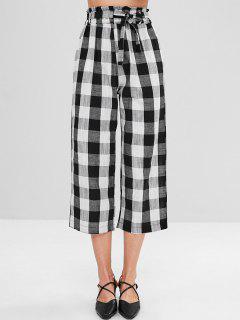 Wide Leg Belted Plaid Pants - Multi S