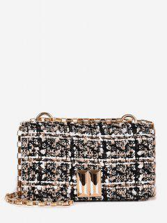 Plaid Chic Chain Crossbody Bag - Brown