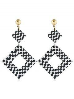 Color Block Pattern Rectangular Earrings - Black
