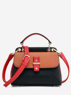Zipper Design Hit Color Splicing Tote Bag - Black