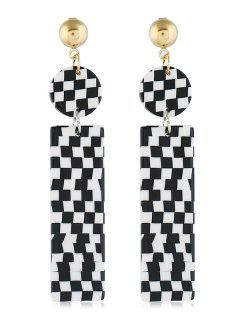 Geometric Rectangular Shaped Earrings - Black