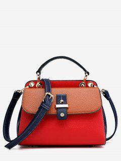 Zipper Design Hit Color Splicing Tote Bag - Red