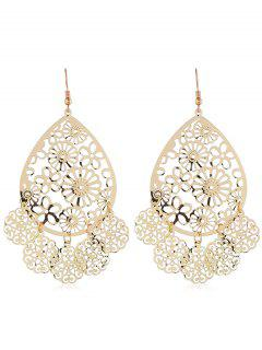 Ethnic Floral Pattern Hollow Earrings - Gold