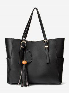 Large Capacity Tassel Shoulder Bag - Black
