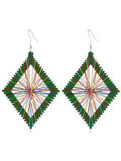 Geometric Knit Design Rectangular Earrings - Green