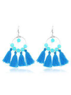 Hollow Round Tassel Hook Earrings - Blue
