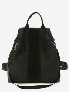 Canvas Color Splicing Design School Backpack - Black