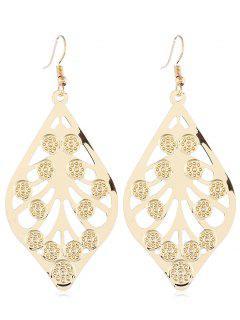 Metal Leaf Hollow Design Hook Earrings - Gold