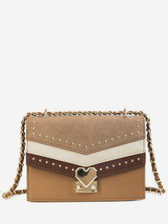 Rivet Desgin Hit Color Splicing Crossbody Bag - Khaki