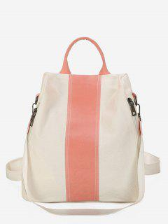 Canvas Color Splicing Design School Backpack - White