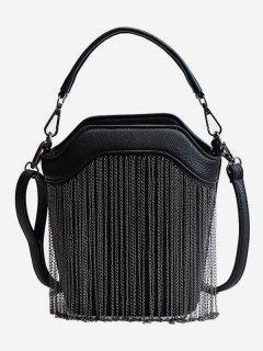 PU Layered Link Chain Design Tote Bag - Black
