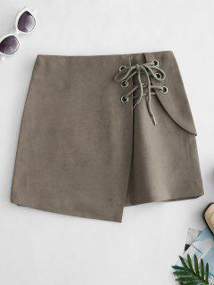 Mini Falda Superpuesta Con Cordones - Ejército Marrón S