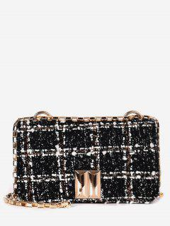 Plaid Chic Chain Crossbody Bag - Black