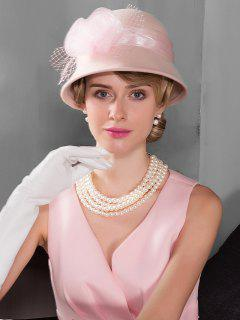 Floral Solid Color Cloche Hat - Pink
