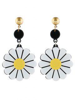 Single Floral Pattern Drop Earrings - White
