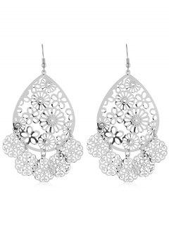 Ethnic Floral Pattern Hollow Earrings - Silver