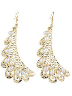 Hollow Metal Faux Pearl Inlaid Earrings - Gold