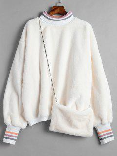Oversized Faux Fur Pullover Sweatshirt With Bag - Warm White