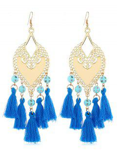 Bohemian Hollow Tassel Beaded Earrings - Deep Sky Blue