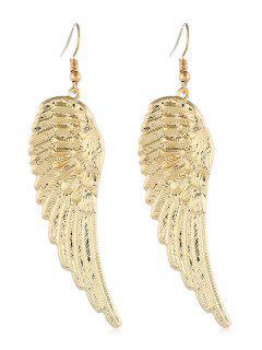Metal Wing Shape Hook Earrings - Gold