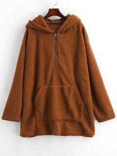 Fluffy Tunic Zip Hoodie With Pocket - Deep Brown L